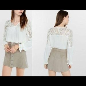 Express Pieced Lace Poet Long Sleeve Blouse S